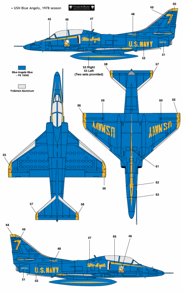 Douglas TA-4J Skyhawk Blue Angel Color Profile and Paint Guide