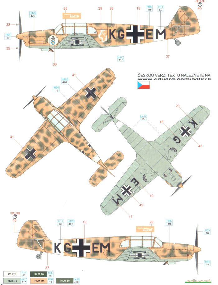 messerschmitt bf 108b north africa camouflage color profile and