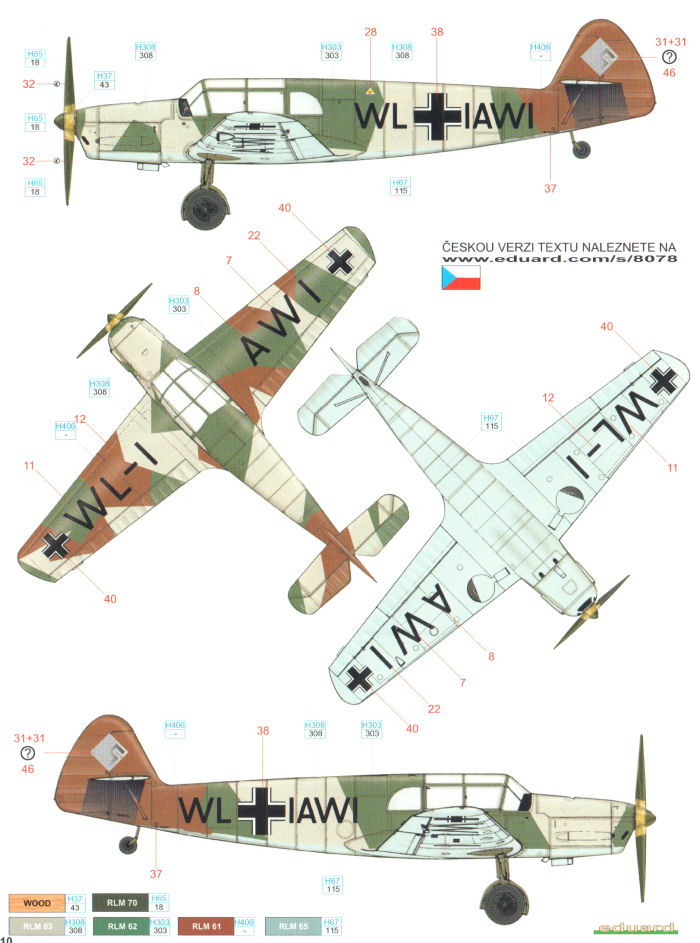 messerschmitt bf 108b pre-wwii camouflage color profile and paint