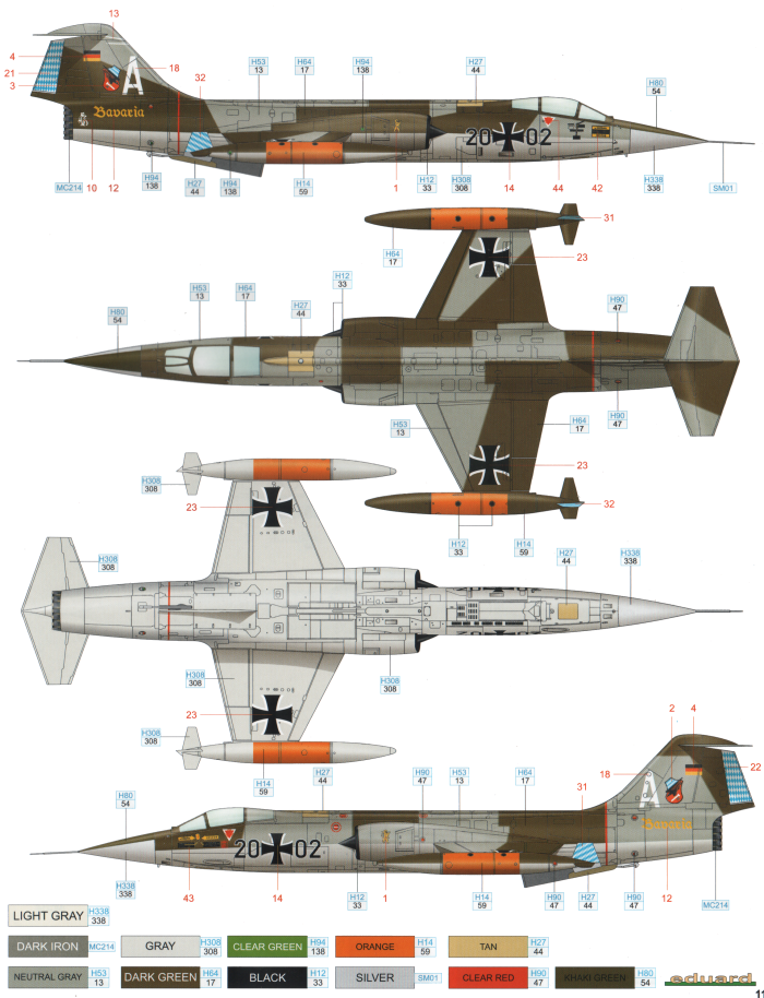 lockheed f-104g starfighter norm 62 camouflage color profile and