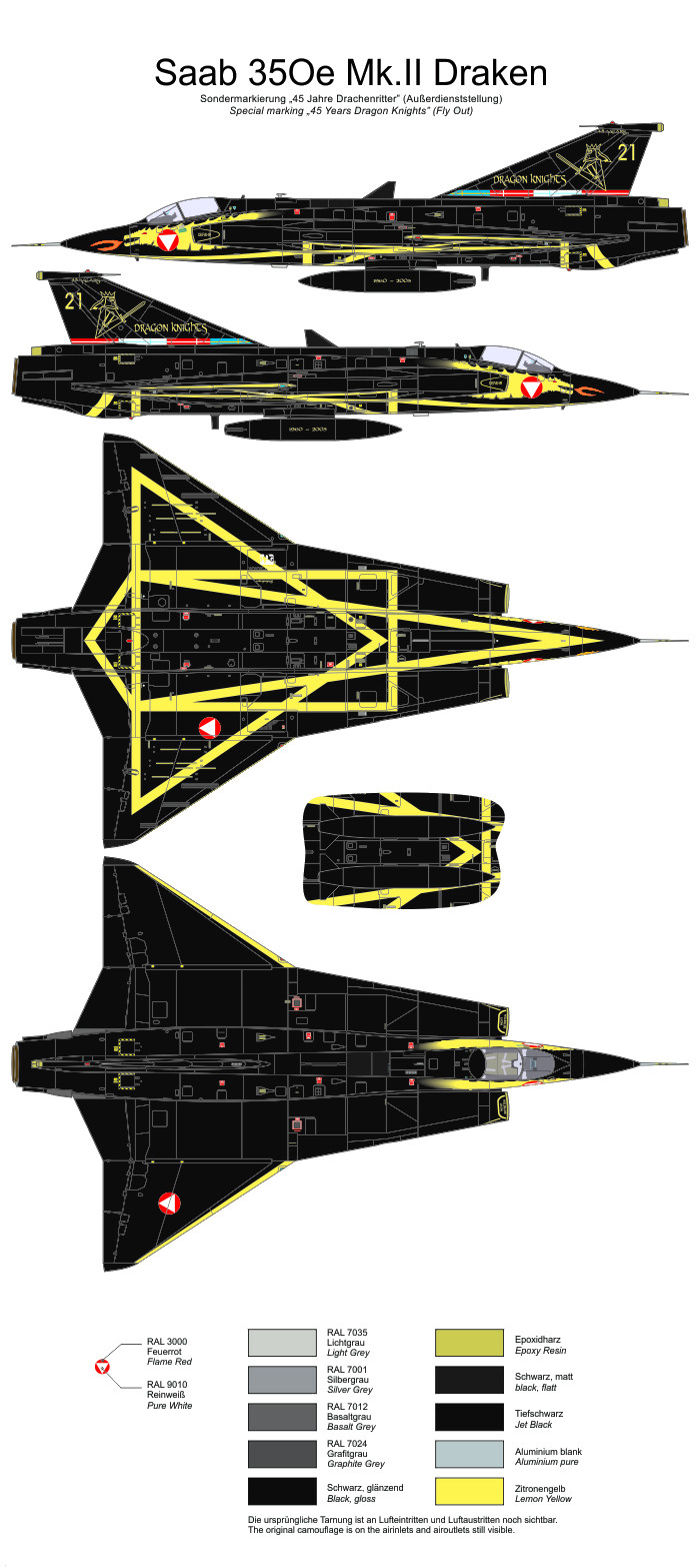 saab  oe mkii draken  years dragon knights color profile  paint guide