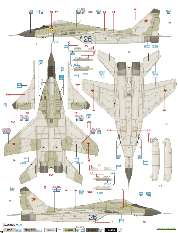 Mikoyan Mig 29 Fulcrum Soviet Af Camouflage Color Profile And Paint