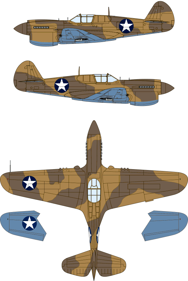 curtiss p-40e warhawk tri-color desert camouflage color profile
