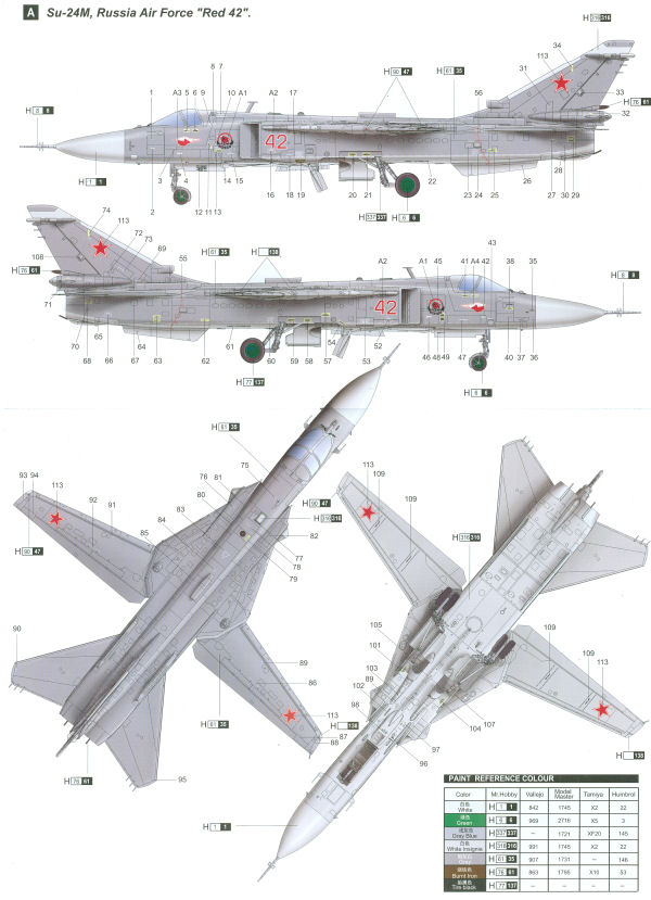 Sukhoi Su 24m Fencer Soviet Air Force Color Profile And