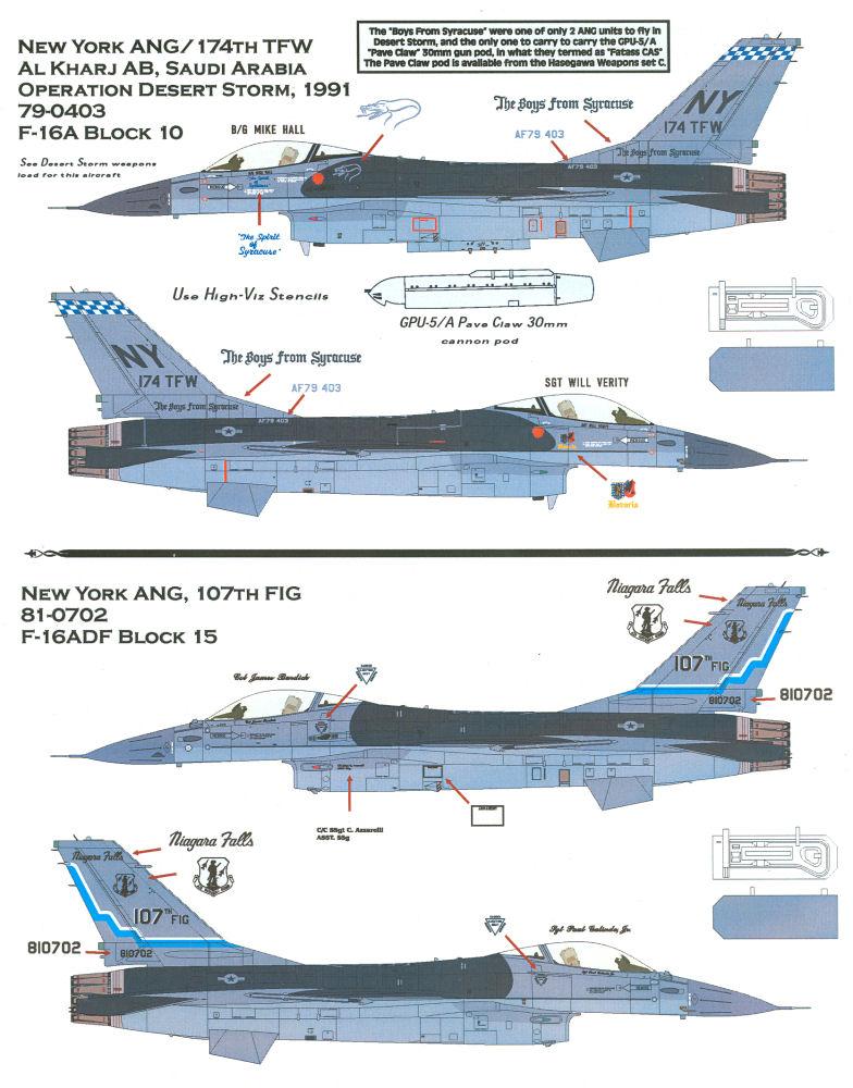 Afterburner Decals 48058 1/48 F-16 Air National Guard ...