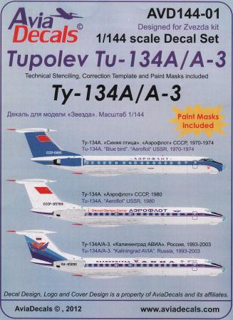 lh124// Lift Here Decals Aviogenex TOPP Tupolev Tu-134 1//144
