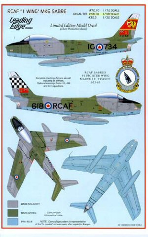 Leading edge 48010 1 48 canadair sabre mk 6 1st wing rcaf for Motor vehicle crashes cost american taxpayers over