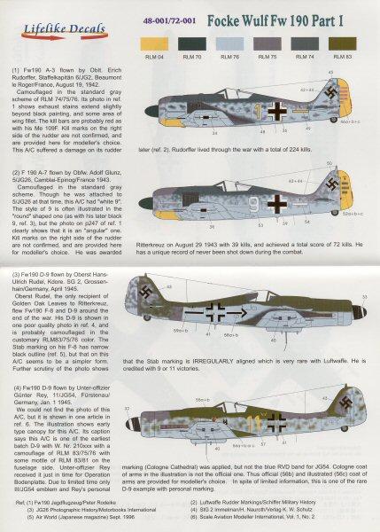 Lifelike Decals 1//48 FOCKE WULF Fw-190 Fighter Part 3