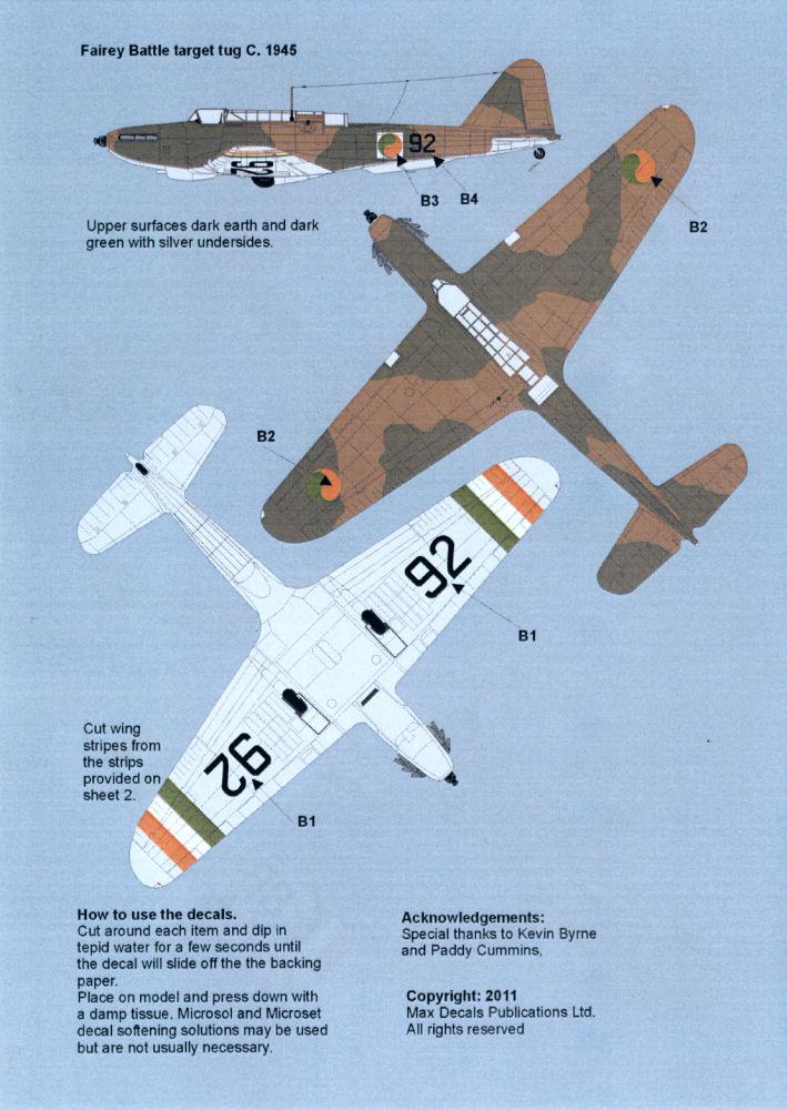 Print Scale Decals 1//72 FAIREY BATTLE British WWII Bomber